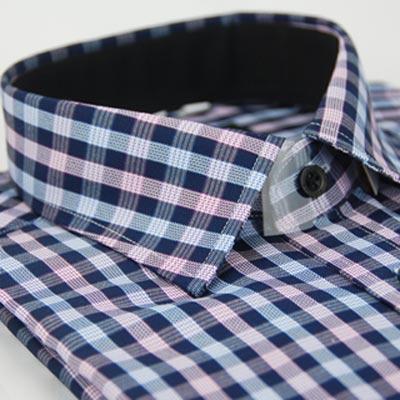 金‧安德森 紫白格紋窄版長袖襯衫fast