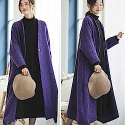外套-紫色中長版羊毛呢大衣-設計所在