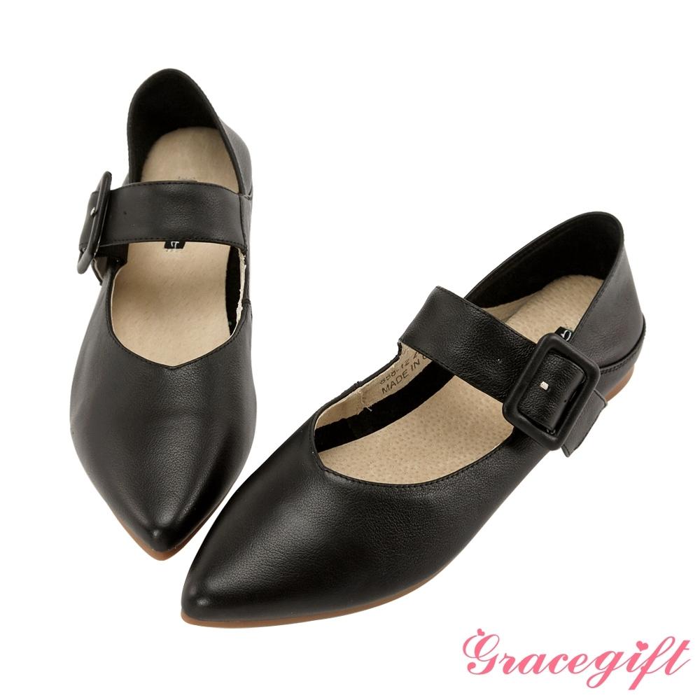 Grace gift-全真皮尖頭寬帶2way平底鞋 黑