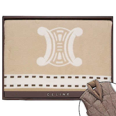 CELINE 經典皇家BLASON LOGO純棉毛蓋毯禮盒-駝色(贈羽絨背心)