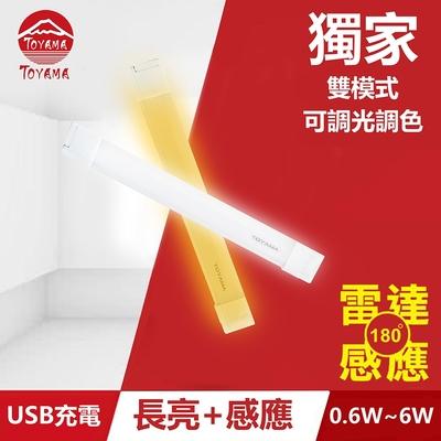 TOYAMA特亞馬TS2磁吸USB充電可調光雙模式長亮+感應LED燈0.6W~6W 雙模式(長亮照明、感應照明)
