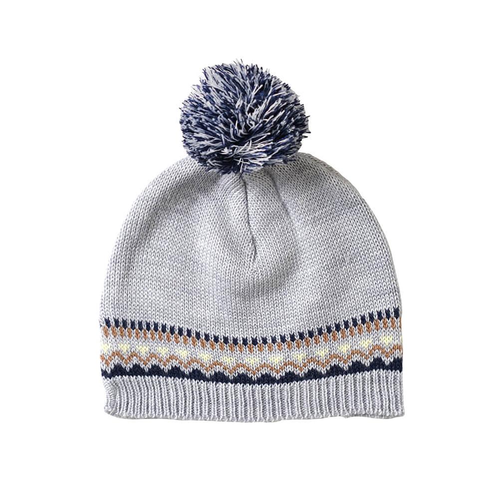 Hoppetta 毛球緹花編織毛帽(藍灰)