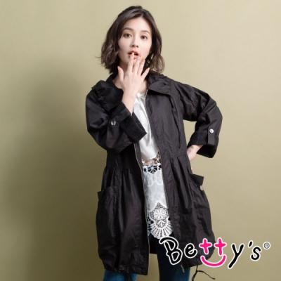 betty's貝蒂思 優雅質感縮腰風衣(黑色)
