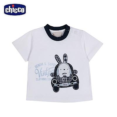 chicco-玩具車-短袖上衣-白