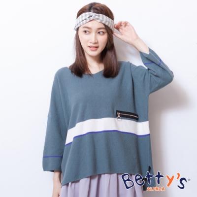 betty's貝蒂思 條紋俏皮配色針織線衫(藍綠色)