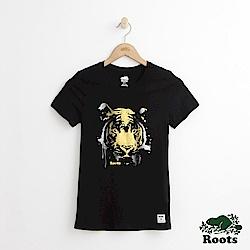 Roots -女裝- 燙金動物短袖T恤- 黑