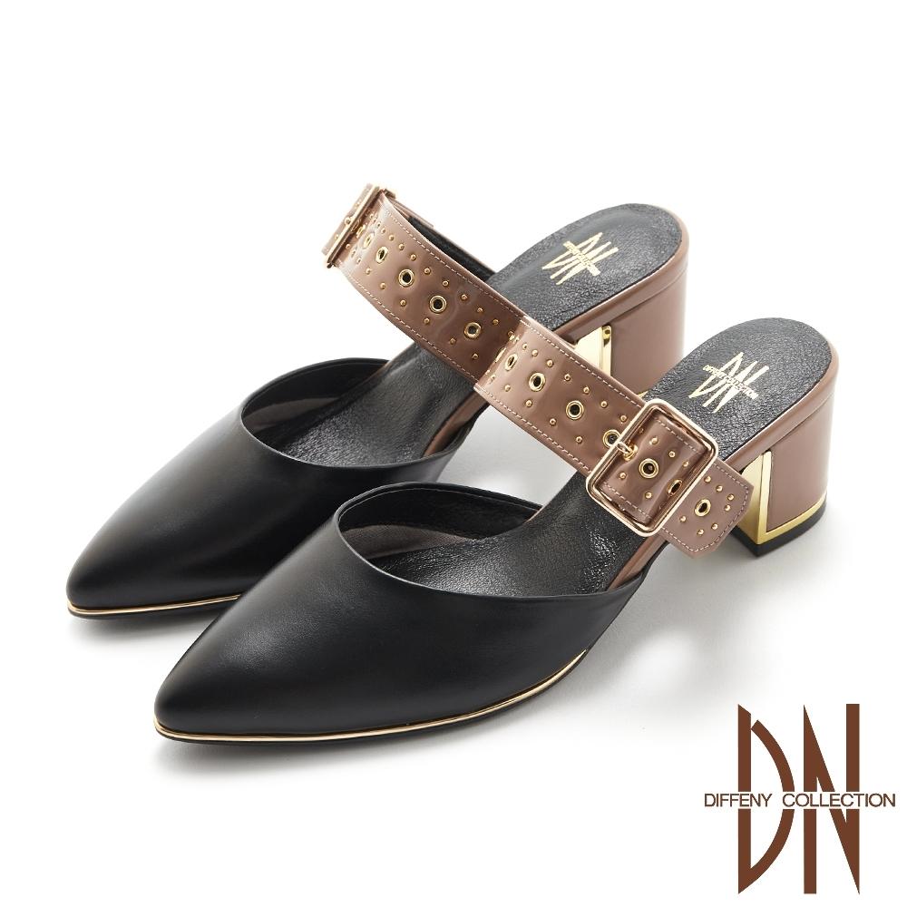 DN跟鞋_MIT金屬飾扣拼接真皮涼拖跟鞋-黑