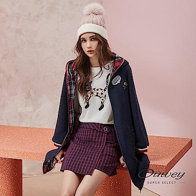 OUWEY歐薇 撞色羅紋邊造型貼布繡連帽長版外套(藍)
