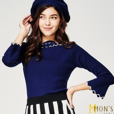 MONS 領圍配色喇叭袖羊毛針織衫