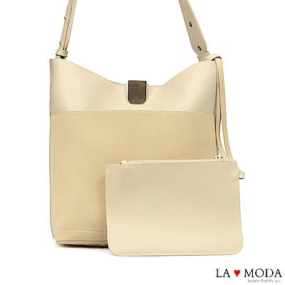 La Moda 輕便百搭大容質感面料肩背斜背包(米白)