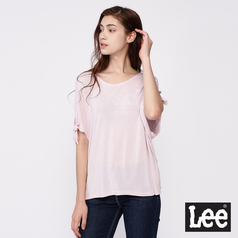Lee 短T Logo袖口綁帶寬版T恤 女款 粉紅色