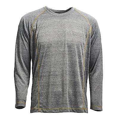 荒野【wildland】男圓領雙色抗UV長袖上衣深灰色