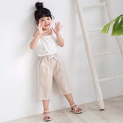 高含棉綁帶五分/七分條紋休閒褲-OB大尺碼