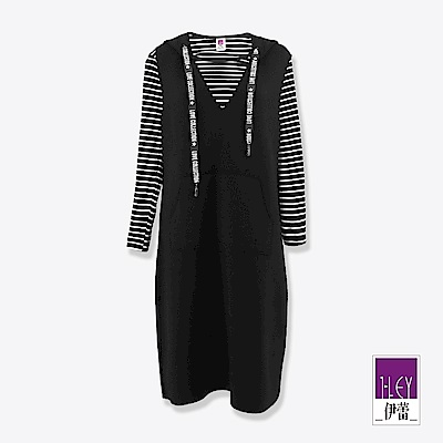 ILEY伊蕾 字母抽繩連帽條紋兩件式洋裝(黑)