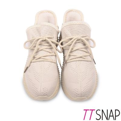 TTSNAP健走鞋-運動輕量織面綁帶慢跑休閒鞋 米