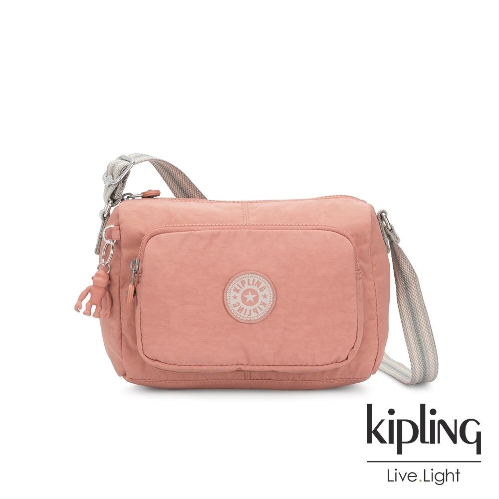 Kipling 奶油草莓拿鐵色前袋拉鍊側背包-RETH S