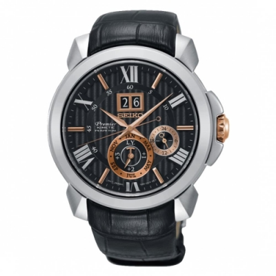 SEIKO 精工Premier 廣告款人動電能自動追時萬年曆腕錶SNP149J2