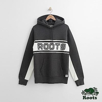 Roots 男裝-緞帶連帽上衣-灰