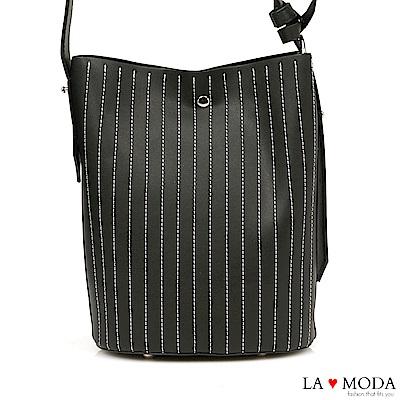 La Moda 通勤最佳單品車縫線條設計大容量肩背斜背子母包水桶包(黑)