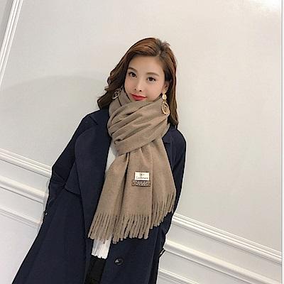 梨花HaNA 冬日極暖手感黃金絨SKY純色系列圍巾-淺駝灰