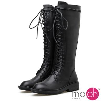 mo.oh綁帶圓頭顯瘦拉鍊馬丁馬汀靴長靴-黑