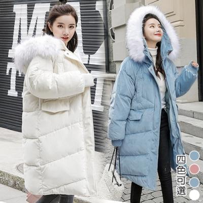 【韓國K.W.】芬蘭款極地金絲絨羽绒中長版外套(三色可選)