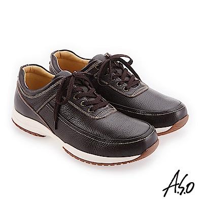 A.S.O 3D超動能 精緻做工簡約休閒鞋 咖啡