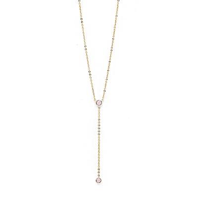 LOVERS TEMPO加拿大品牌 DUET LARIAT垂墜造型鑲嵌粉水晶 金色項鍊