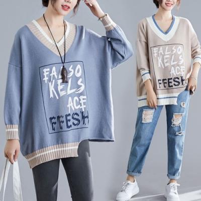 La BellezaV領羅紋領配色拼接框線英文字不對稱下擺針織毛衣