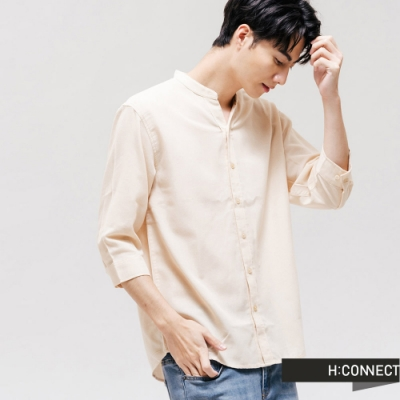 H:CONNECT 韓國品牌 男裝 - 素色排扣七分袖襯衫 - 卡其