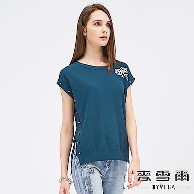 【麥雪爾】棉質珍珠綴飾蝴蝶結針織衫-綠