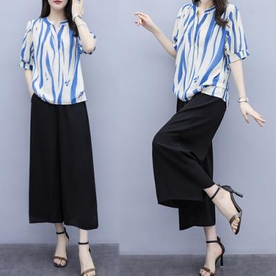 【韓國K.W.】花漾夏日條紋印花套裝-2色