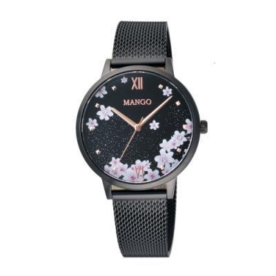MANGO 星願花語氣質腕錶-黑