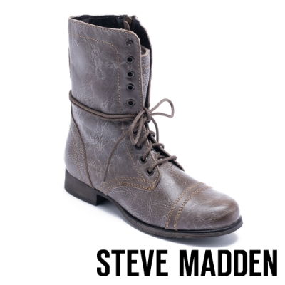 STEVE MADDEN-TROOPA 真皮綁帶中筒靴-棕色