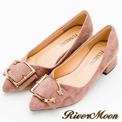 River&Moon跟鞋-輕熟皮帶扣細絨尖頭粗跟鞋-粉紫