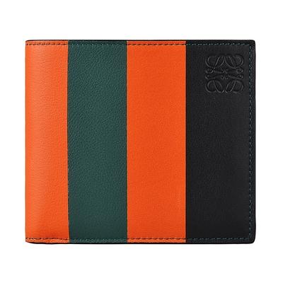 LOEWE 壓印LOGO撞色條紋設計牛皮8卡對折短夾(橘x綠)