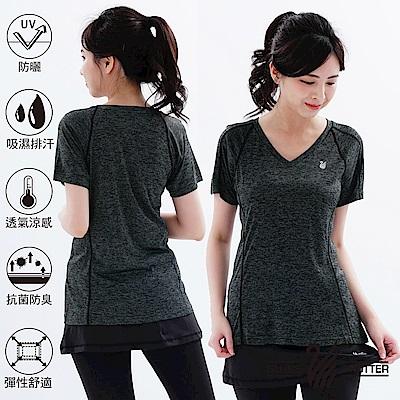 【遊遍天下】MIT女款透氣吸排抗UV速乾運動V領衫GS20008黑色