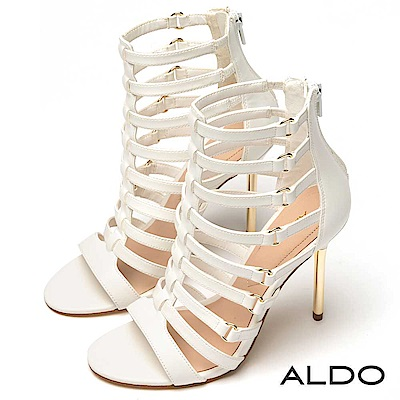 ALDO 羅馬鏤空後拉鍊金屬細跟涼鞋~氣質白色
