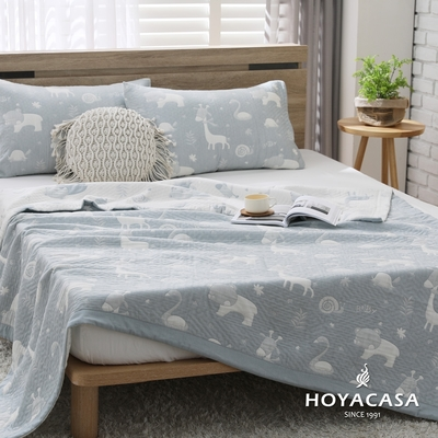 【HOYACASA】純棉三層紗親膚透涼被-單人150x200cm(多款任選)