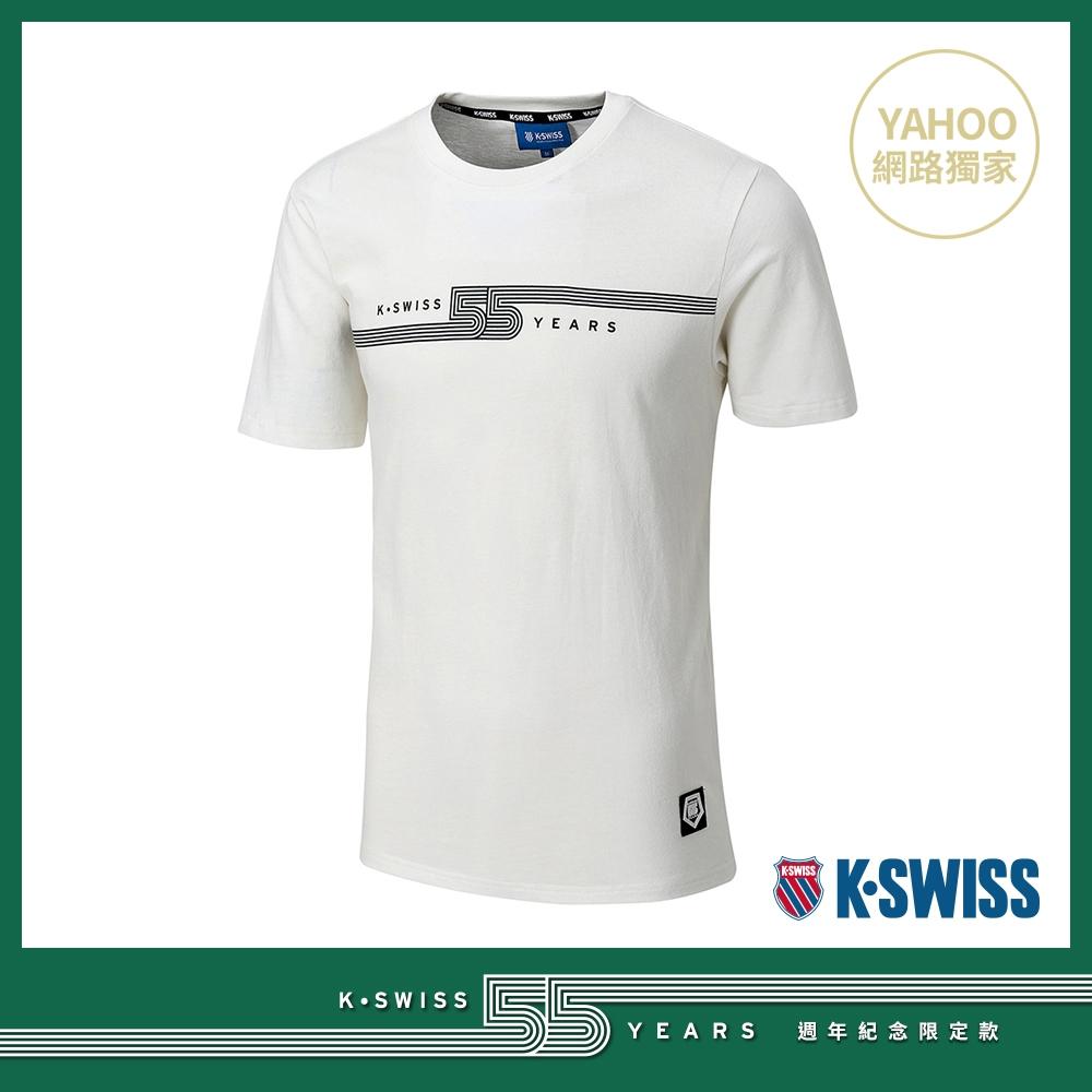 K-SWISS 55TH LOGO TEE棉質T恤-男-米白