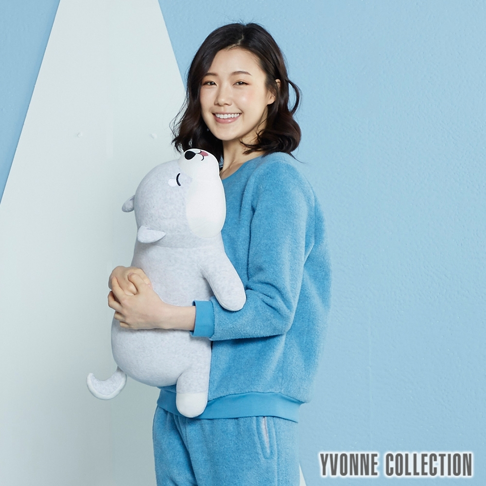 Yvonne Collection 趴趴柴犬造型抱枕(56公分)-白柴