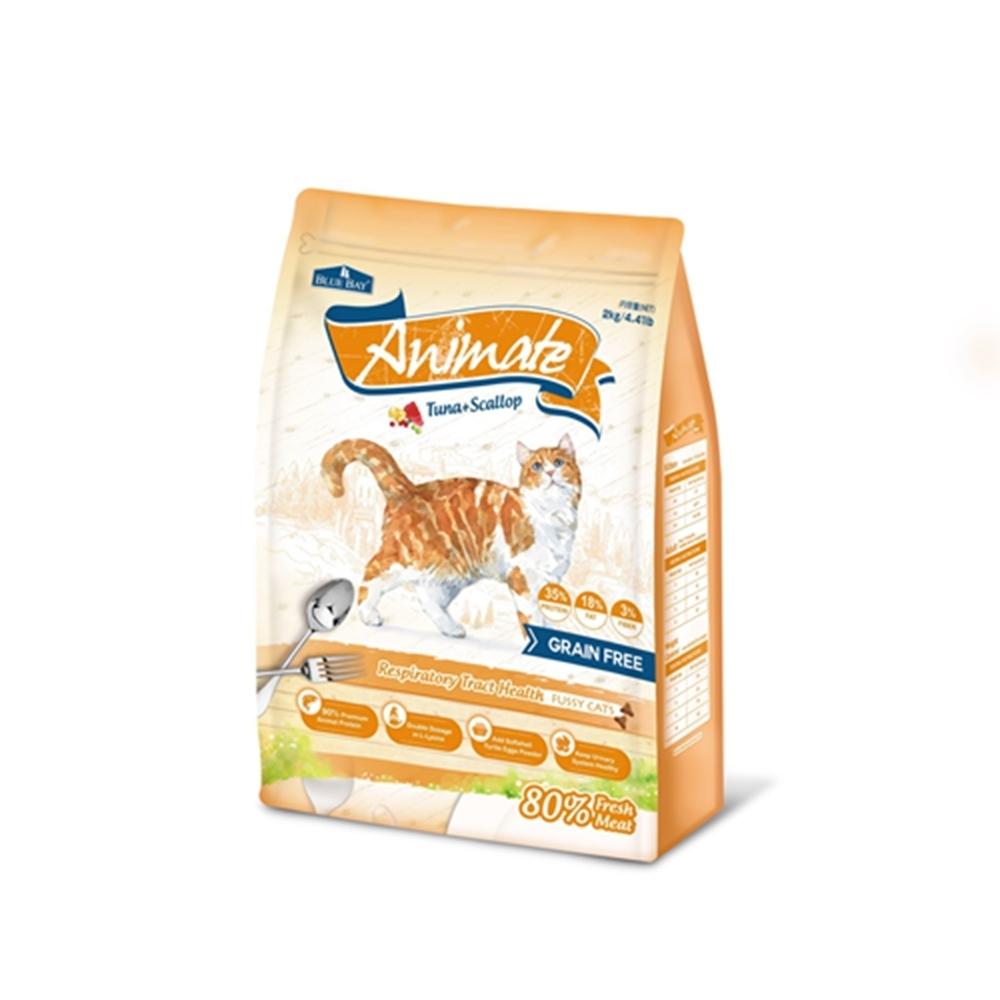 BLUE BAY Animate倍力願望-無穀天然貓鮮糧-挑嘴貓/呼吸道保健配方鮪魚+干貝 2kg 兩包組