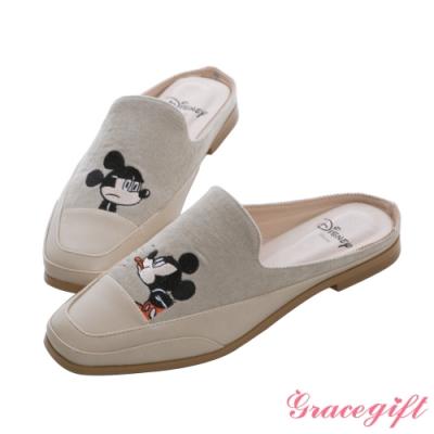 Disney collection by gracegift-迪士尼厭世米奇電繡方頭穆勒鞋 淺灰
