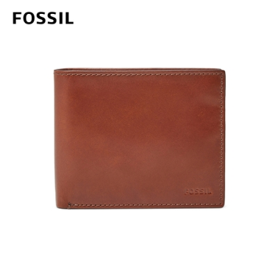 FOSSIL HUGH 真皮RFID男夾-咖啡色 #可放零錢 ML3987222