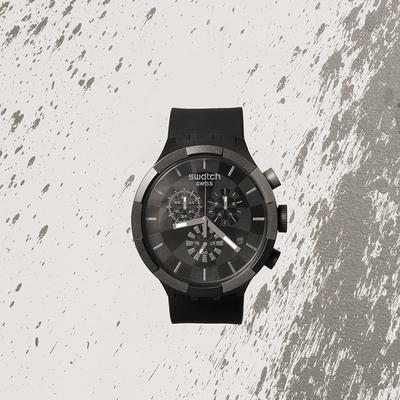 Swatch BIG BOLD系列手錶 CHECKPOINT BLACK -47mm