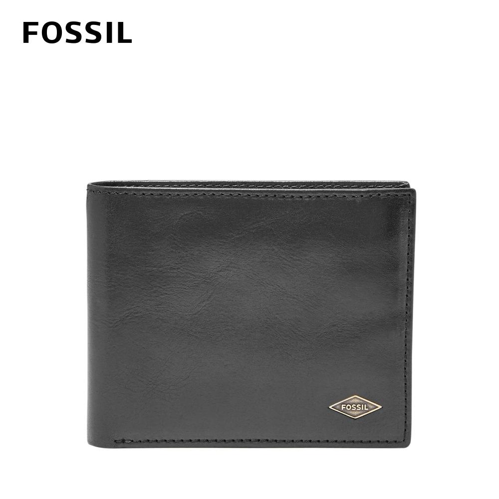 FOSSIL RYAN 菱形金屬LOGO基本款RFID實用男夾-黑色 ML3729001