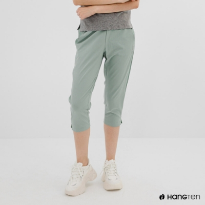 Hang Ten-女裝-恆溫多功能-REGULAR FIT標準四向彈力吸濕快乾抗曬七分運動長褲-淺綠