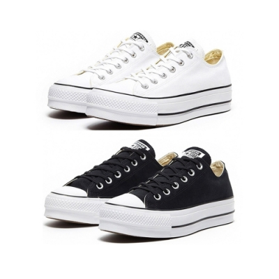 CONVERSE ALL STAR LIFT 白色 黑色 低筒厚底帆布鞋