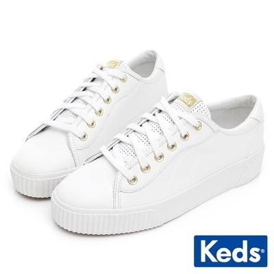 Keds CREW KICK ALTO 簡約厚底皮革休閒鞋-白