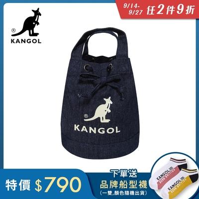 KANGOL 韓版玩色系列-牛仔斜背水桶包-深藍AKG1214